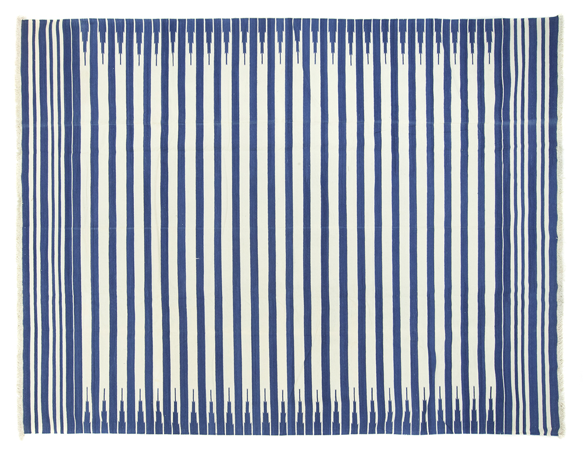 Blue Amp White Striped Dhurrie 9 2 X 11 7 Seret And Sons