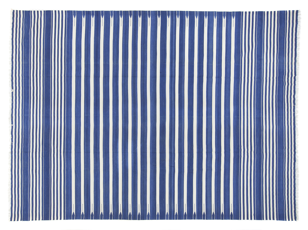 Blue Amp White Striped Dhurrie 8 10 X 11 10 Seret And Sons